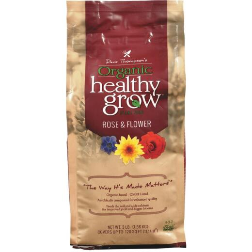 Healthy Grow 3 Lb. 4-3-2 Organic Rose & Flower Dry Plant Food