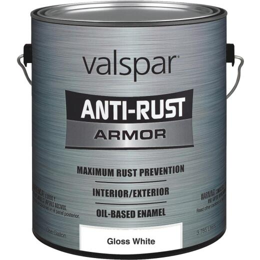 Valspar Anti-Rust Oil-Based Gloss Armor Rust Control Enamel, White, 1 Gal.