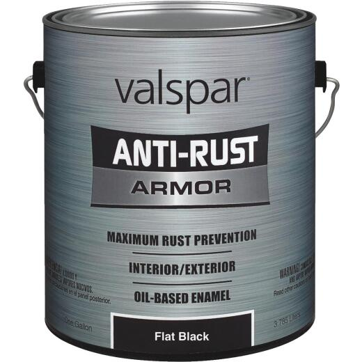 Valspar Anti-Rust Oil-Based Flat Armor Rust Control Enamel, Black, 1 Gal.