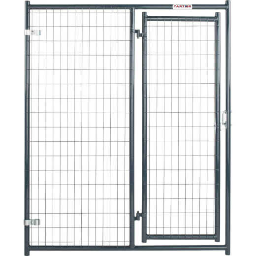 Tarter 5 Ft. W. x 6 Ft. H. Black Steel & Mesh Wire Outdoor Dog Kennel Gate